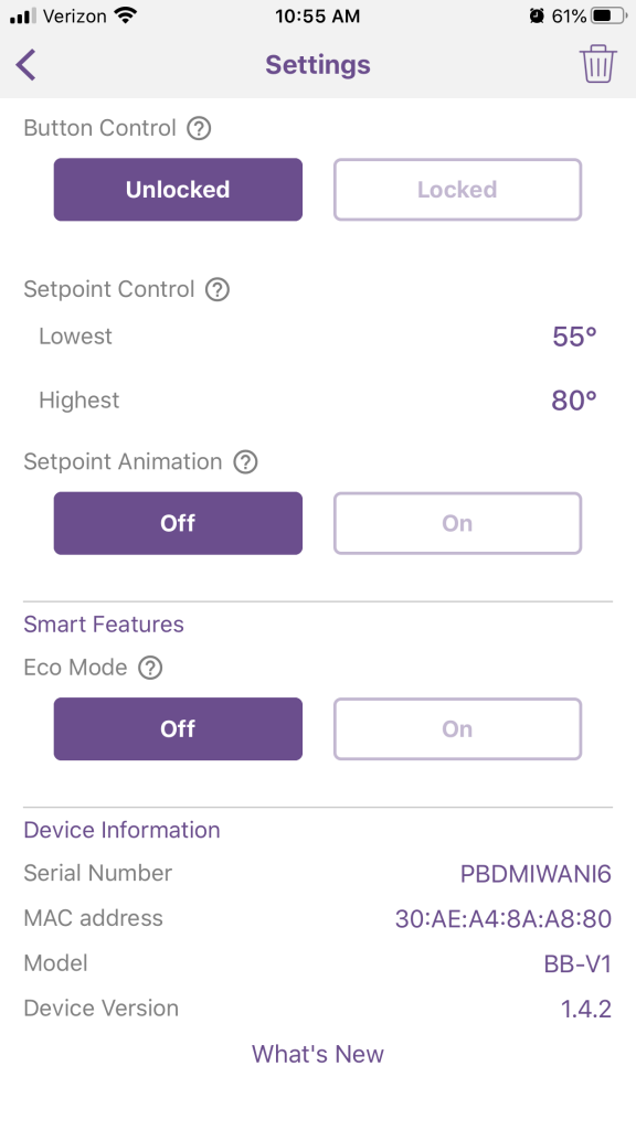 smart thermostat settings menu